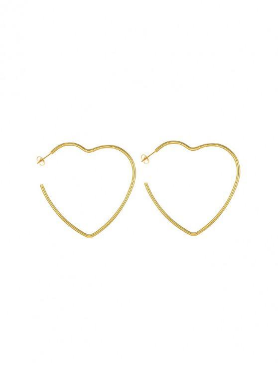 心臟回合星耳釘 - 金 心