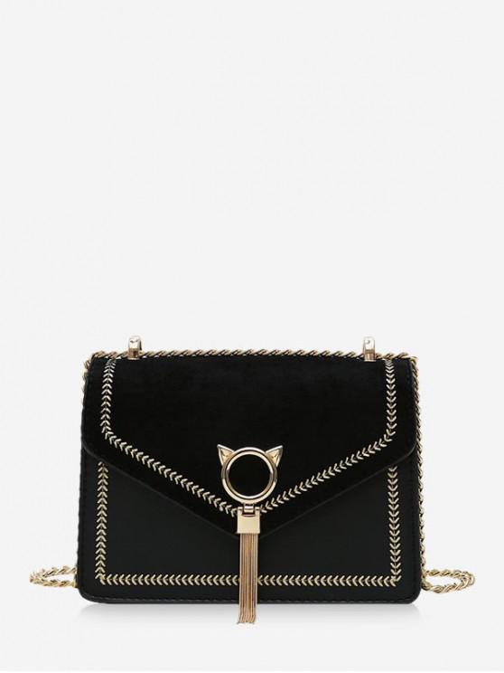fancy Cat Tassel Chain Cover Crossbody Bag - BLACK