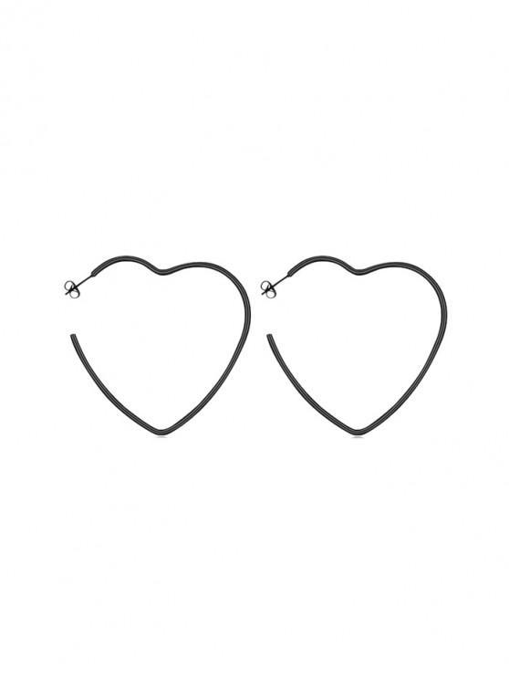 หัวใจรอบดาว Stud Earrings - สีดำ หัวใจ