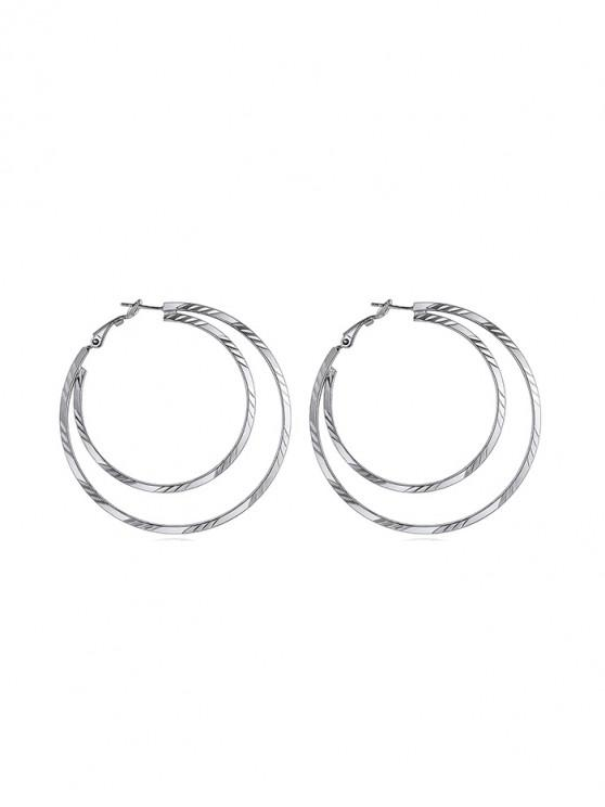 buy Heart Round Star Stud Earrings - SILVER ROUND