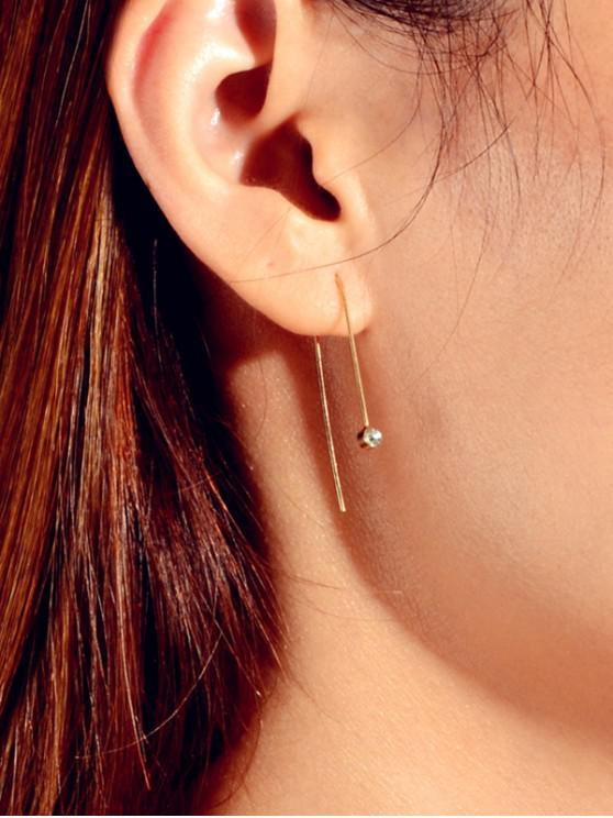 women Tiny Rhinestone Ear Through Earrings - GOLD