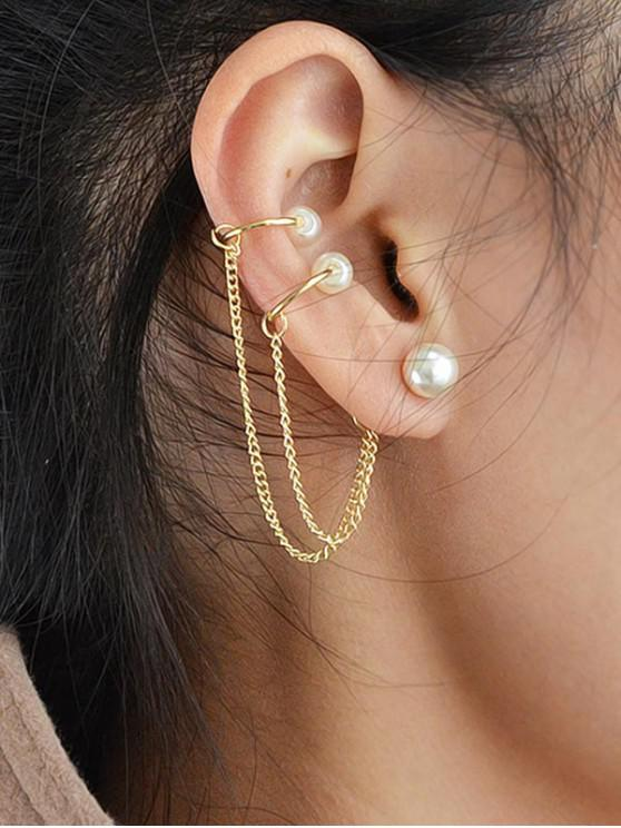 women's Faux Pearl Chain Ear Cuff Earring - GOLD
