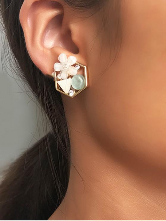 lady Geometric Floral Design Resin Stud Earrings - GOLD