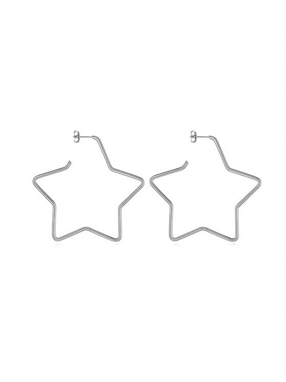 outfit Heart Round Star Stud Earrings - SILVER STAR