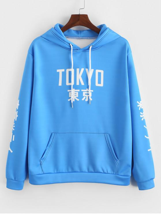東京レターグラフィックプリントカンガルーポケットパーカー - ドジャーブルー 2XL