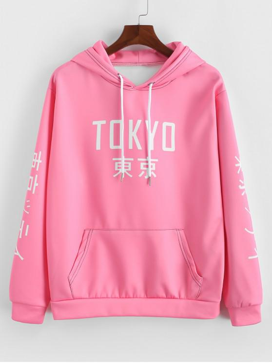 ladies Tokyo Letter Graphic Print Kangaroo Pocket Hoodie - WATERMELON PINK 3XL