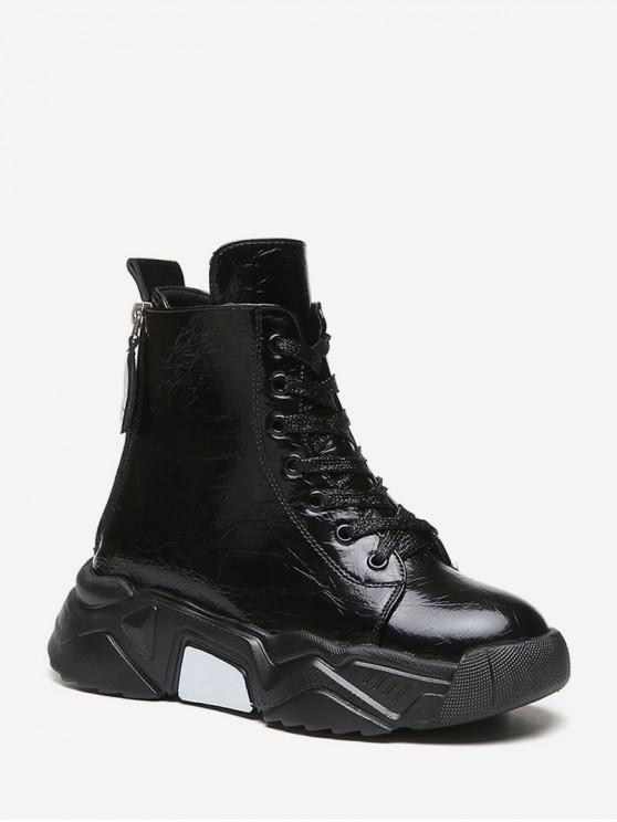 new Creased PU Leather Platform Short Boots - BLACK EU 36
