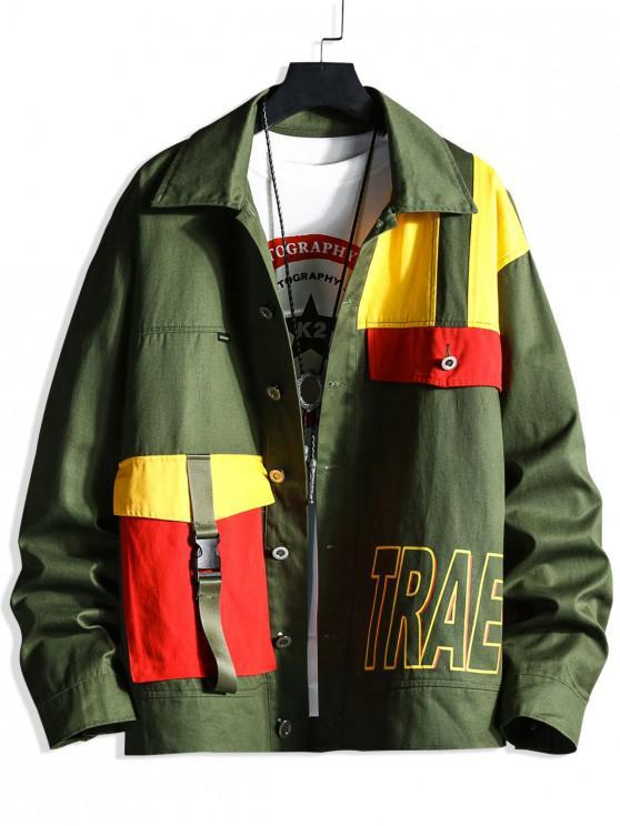 Цветной блок Много карманов Куртка - Темно-зеленый  3XL