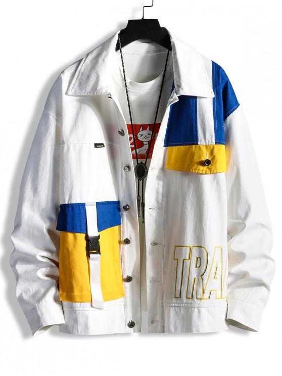 ladies Color-blocking Multi Pockets Twill Cargo Jacket - WHITE XL