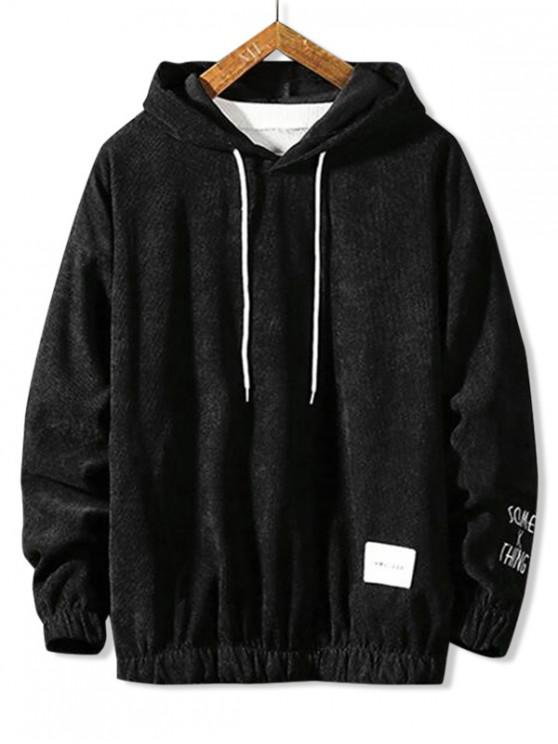 online Letter Embroidery Drawstring Basic Hoodie - BLACK XS