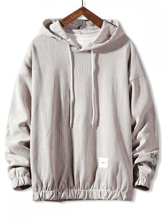 new Letter Embroidery Drawstring Basic Hoodie - LIGHT GRAY XL