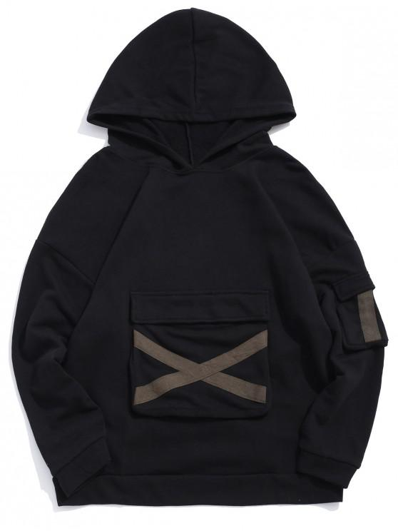 womens Ribbon Cross Design Flap Pocket Pullover Hoodie - BLACK L