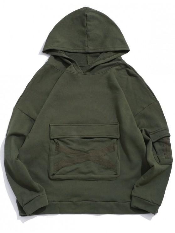 new Ribbon Cross Design Flap Pocket Pullover Hoodie - ARMY GREEN 3XL