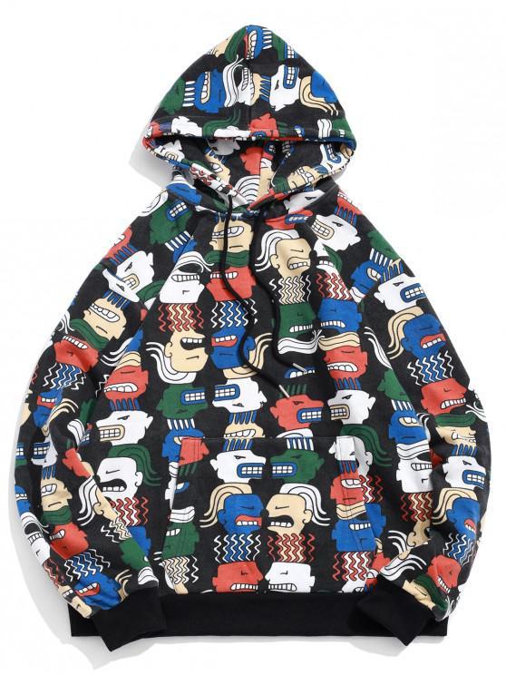 outfits Cartoon Character Print Kangaroo Pocket Drawstring Hoodie - BLACK L