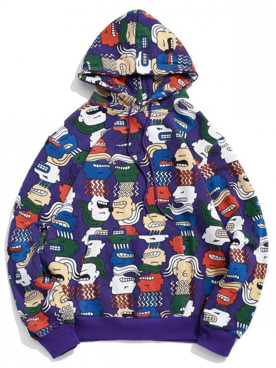 Карман кенгуру Принт мультфильма Со шнуровкой Толстовка - Фиолетовый XL