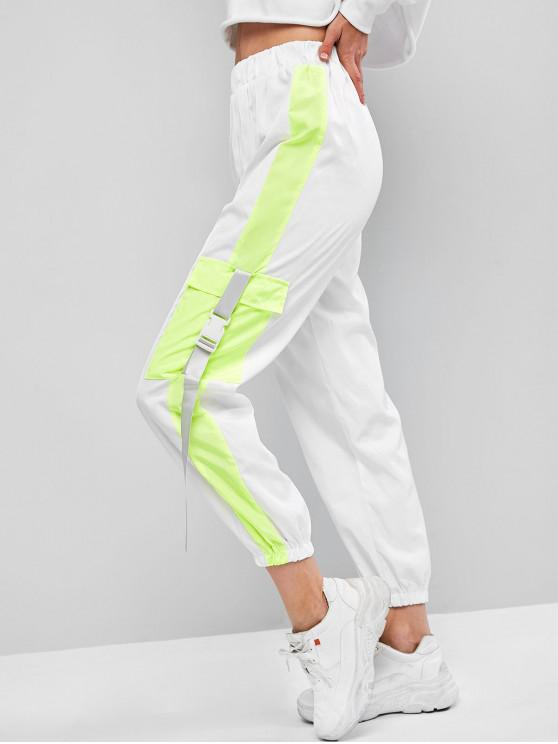 chic Flap Pockets Push Buckle Colorblock Jogger Pants - WHITE S