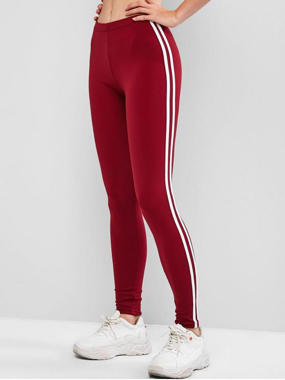 affordable Contrast Striped Tapered Skinny Leggings - RED WINE XL