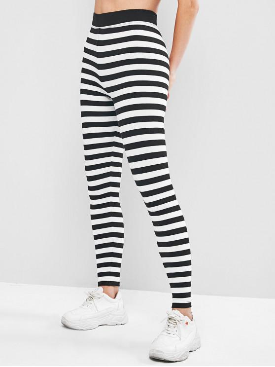 ladies Two Tone Striped High Waist Leggings - BLACK ONE SIZE