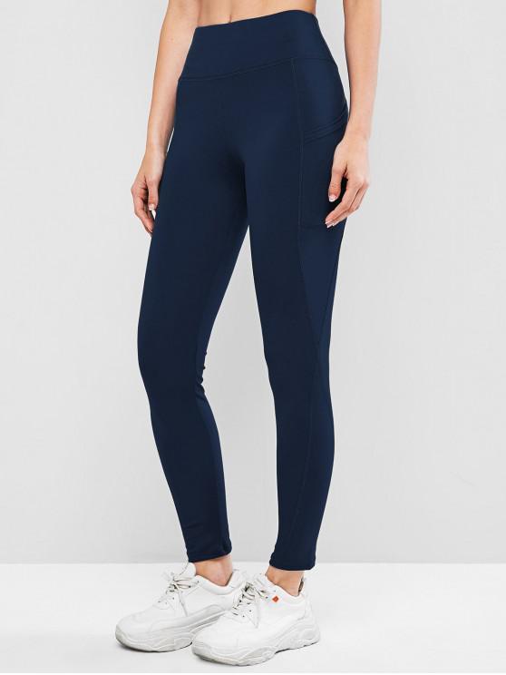 buy High Waisted Skinny Plain Leggings - DEEP BLUE XL