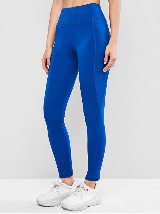 shop High Waisted Skinny Plain Leggings - OCEAN BLUE XL