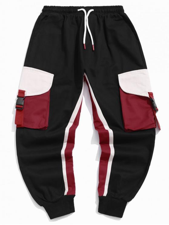 women Colorblock Splicing Flap Pocket Drawstring Cargo Jogger Pants - BLACK 2XL