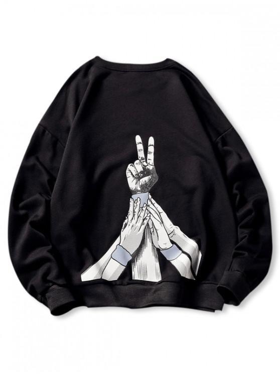 women Hand Gesture Letter Print Crew Neck Pullover Sweatshirt - BLACK 4XL