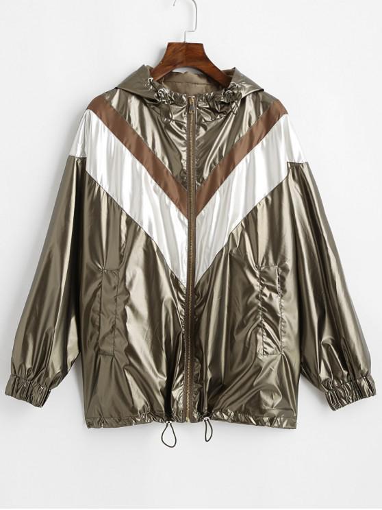 sale Hooded Colorblock Metallic Windbreaker Jacket - CHAMPAGNE GOLD S