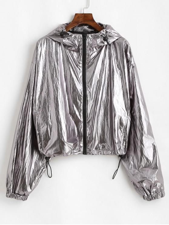 new Hooded Metallic Windbreaker Jacket - SILVER M