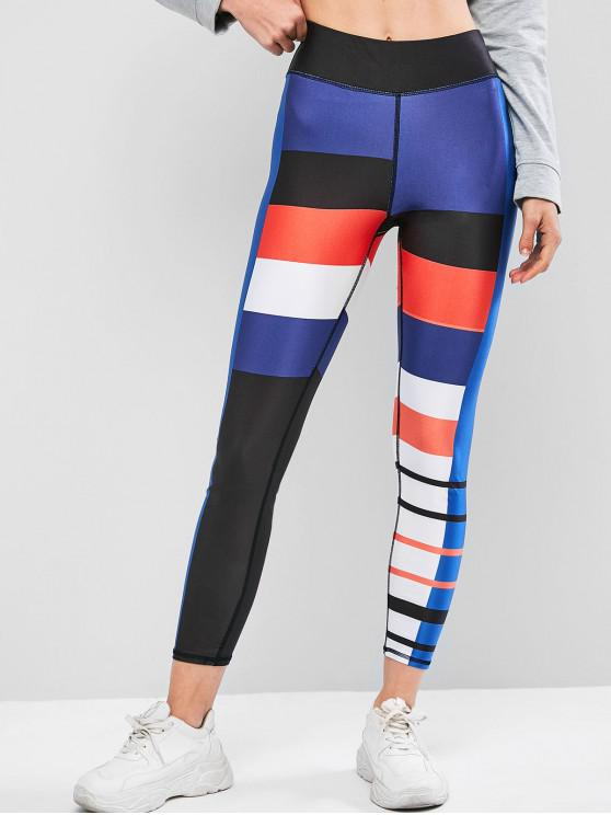 outfits Colorblock Topstitching High Waist Leggings - BLACK S
