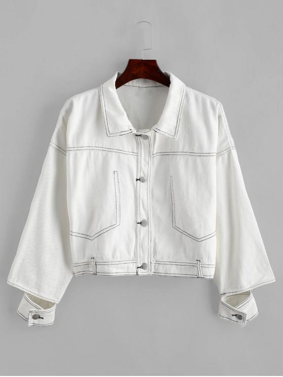 shops Contrast Stitching Button Front Shirt Jacket - WHITE S