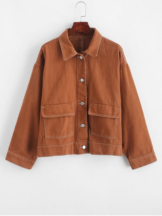 online Contrast Stitching Button Front Flap Pockets Jacket - BROWN M