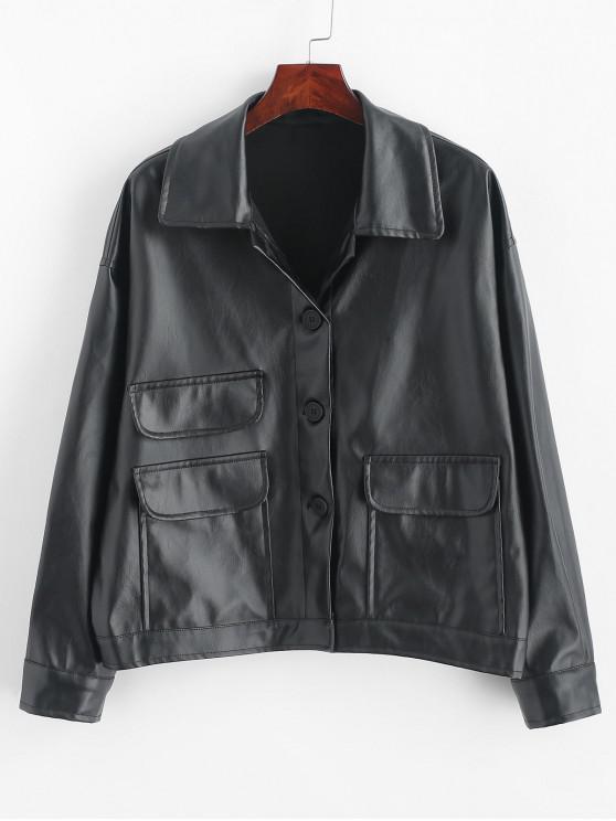 Frente botón bolsillos con solapa de la PU chaqueta de cuero - Negro Talla única