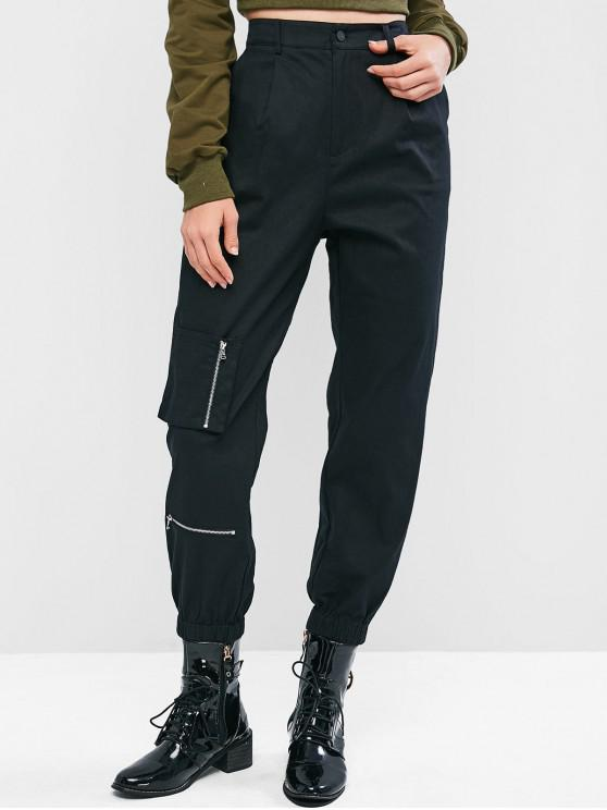 outfits ZAFUL Zipper Pocket High Waisted Cargo Jogger Pants - BLACK M