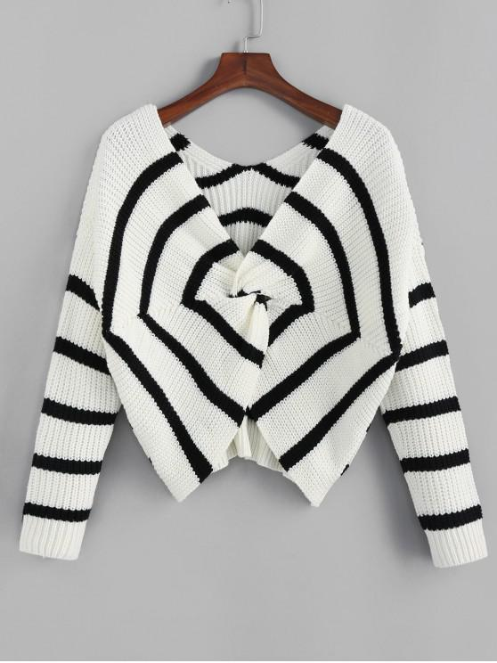 chic ZAFUL Twisted Spider Web Striped Drop Shoulder Sweater - MULTI S