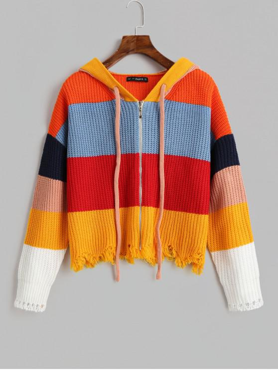 latest ZAFUL Hooded Color-blocking Striped Zip Frayed Cardigan - MULTI ONE SIZE