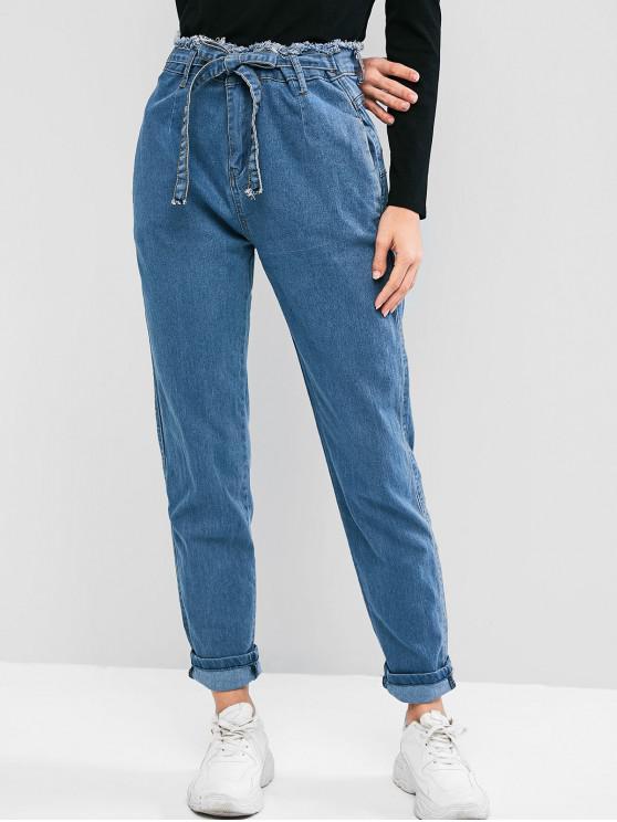 ladies Frayed High Waisted Pocket Tie Mom Jeans - DENIM BLUE L