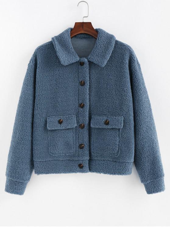 ZAFUL Faux Shearling Klappen-Tasche Fluffy Jacke - Seiden Blau L