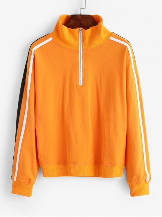 shop ZAFUL Side Striped Half Zip Loose Sweatshirt - PUMPKIN ORANGE L
