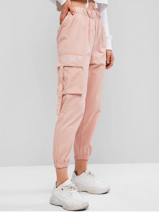 latest Flap Pocket Embroidered High Rise Jogger Pants - PINK L