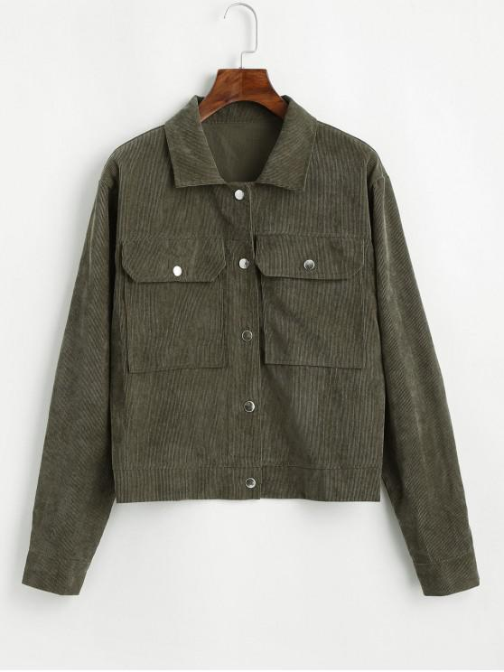 shop ZAFUL Corduroy Flap Pocket Snap Button Jacket - CAMOUFLAGE GREEN M