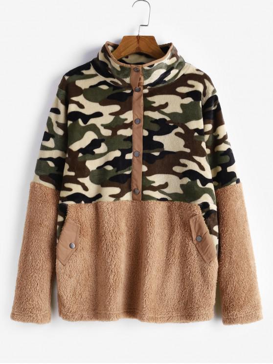 Snap Button camuflaje Bolsillos mullido Fleece con capucha - Marrón Claro M