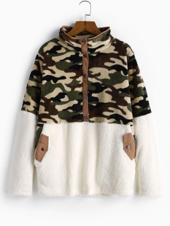 Snap Button camuflaje Bolsillos mullido Fleece con capucha - Blanco Cálido L