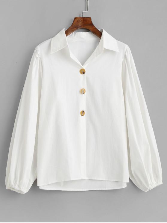 القطن فانوس كم قميص - أبيض S