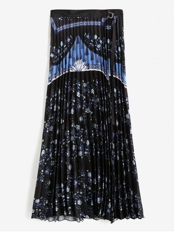 Falda plisada Wrap flor - Negro L