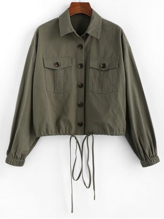 ladies ZAFUL Flap Pocket Single Breasted Drawstring Jacket - ARMY GREEN L