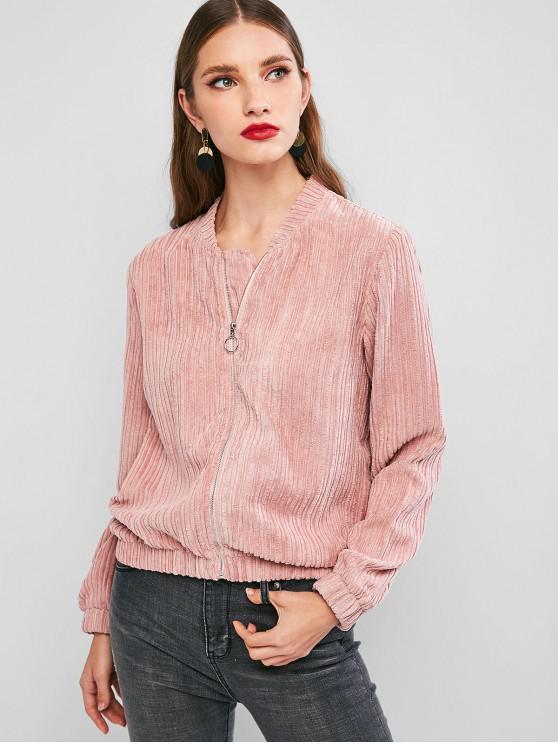 shops ZAFUL Solid Zip Up Corduroy Jacket - ROSE M