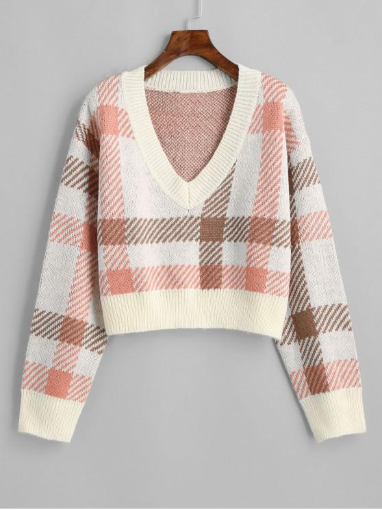 online Plaid Cropped Sweater - MULTI ONE SIZE