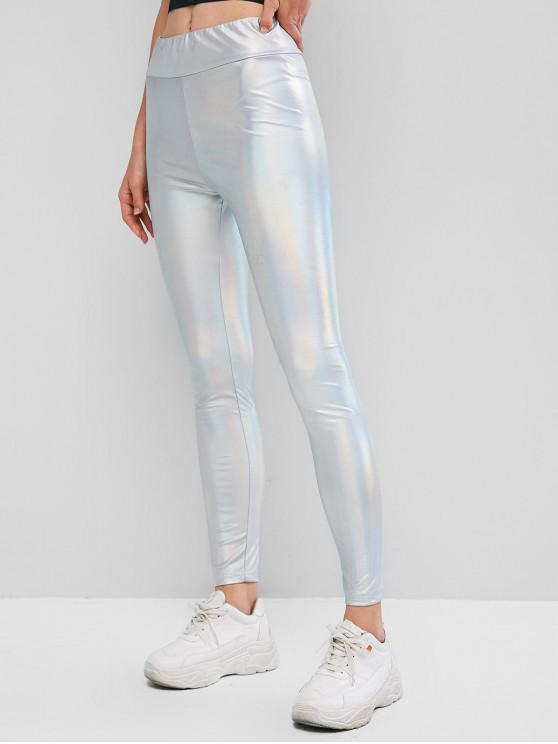 fashion ZAFUL Iridescent Fabric High Waisted Skinny Leggings - SILVER M