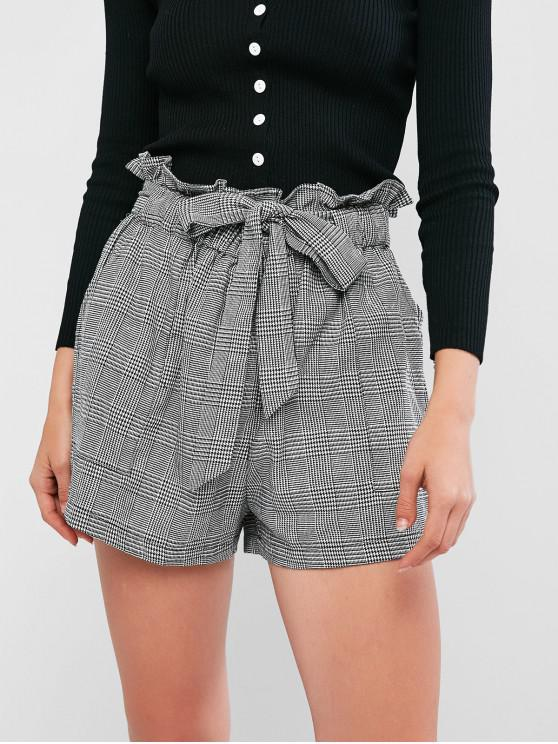 lady ZAFUL Plaid Print High Waisted Paperbag Shorts - GRAY CLOUD S
