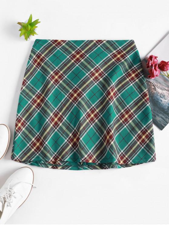sale Plaid Back Zipper Mini A Line Skirt - GREEN M